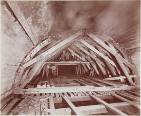 Construction of the Rotherhithe Tunnel  London  1907.