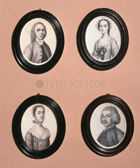 Four portrait miniatures by James Ferguson  18th century.