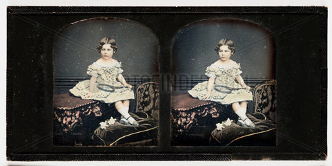 Stereo-daguerreotype of a young girl  c 1855.
