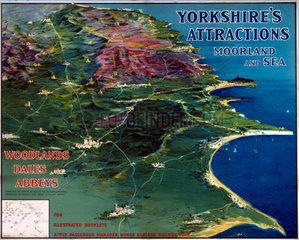 'Yorkshire's Attractions - Moorland and Sea'  NER poster  1900-1922.