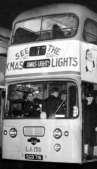 Glasgow Corporation's Christmas lights bus  December 1964.