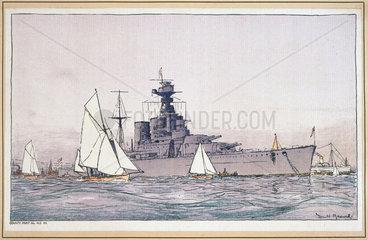 HMS Hood  Portsmouth  SR carriage print  1923-1936.