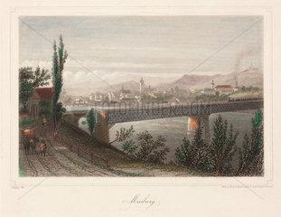 A train crossing a bridge  Marburg  Germany  19th century.