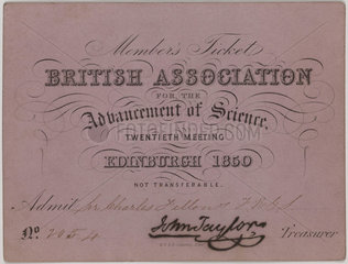 British Association for the Advancement of Science member's ticket  1850.
