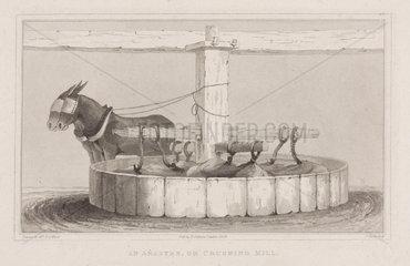 'An arastre  or crushing mill'  1828.