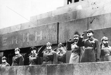 Red Army commanders  Lenin's tomb  Moscow  November 1935.