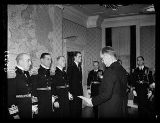 Naval officers receiving an award  1938.
