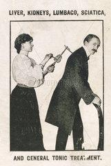 Using the 'Veedee' vibratory massager  c 1900-1925.