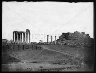 Temple of Jupiter and the Acropolis  Athens  1851.