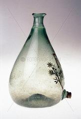 Commemorative glass flask  Spanish  c 1592-1800.