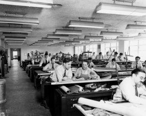 Interior View of Drafting Room  NACA  USA  21 September 1942.