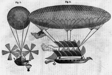 Cayley's improved design for a navigable balloon  1837.