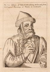 Johann Gutenberg  German printer and goldsmith  c 1660.