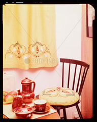 Yellow interior with red coffee set  1960s.