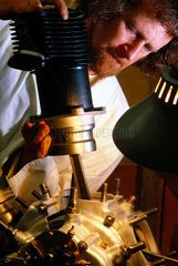 Preparing an aero engine for display  1980s.