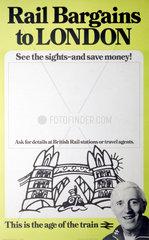 'Rail Bargains to London'  BR (CAS) poster  1981.