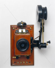Wall telephone with Edison chalk receiver  early 20th century.