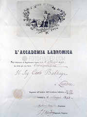 Diploma from L'Accademia Labronica  1843.