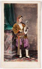 Woman wearing Balkan costume  c 1865.