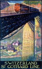 'Switzerland  St Gothard Line'  Swiss Federal Railways poster  1924.