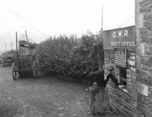 Farrington Gurney Halt's ticket office  Somerset  1936.