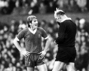 Kenny Dalglish is booked  8 November 1981.