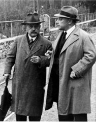 Wolfgang Pauli and Arnold Sommerfeld  physicists  c 1940.