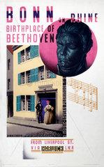 'Bonn on Rhine  Birthplace of Beethoven'  LNER poster  1931.