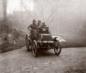 C S Rolls's motor car after completing the Paris to London race  1899.