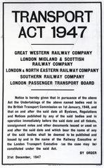 Transport Act  31 December 1947.