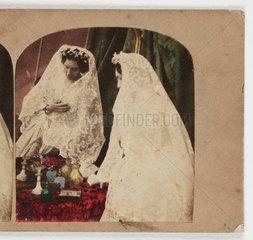 Woman in a veil  c 1870.
