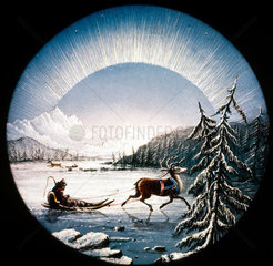 Arctic scene with reindeer and sledge  magic lantern slide  19th century.