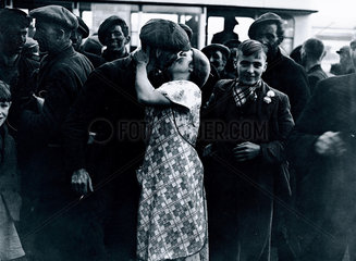 'Stay-in' strikers returning to their families  Wales  1936.