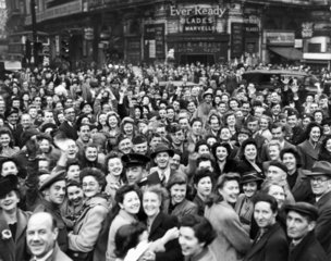 Crowds in Piccadilly Circus on the eve of VE Day  Second World War  7 May 1945.