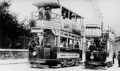 Mansfield & District Light Railways trams  Nottinghamshire  c 1920s.