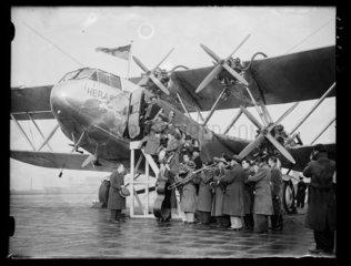 The Jack Hylton Band board an aeroplane  1933.