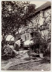 Cottage garden  c 1890.