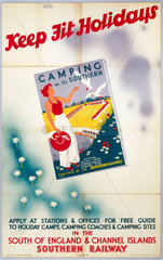 'Keep fit Holidays'  SR poster  1923-1947.