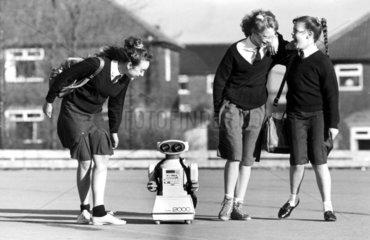 Schoolgirls with robot  Mandale Middle School  Bradford  February 1989.
