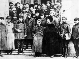 Stalin and Trotsky with fellow Bolsheviks  Russia  1920s.