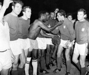 Pele congratulates a Portuguese player  World Cup  Anfield  19 July 1966.