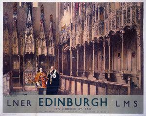 'Chapel of the Thistle  Edinburgh'  LNER/LMS poster  1930.