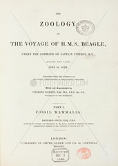 Title page to 'The Zoology of the Voyage of HMS Beagle'  1840.