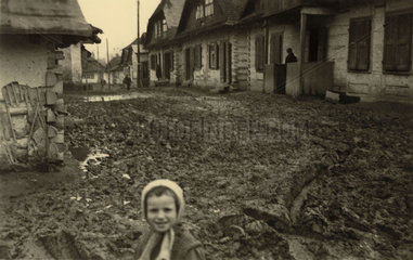 Muddy Russian village  Second World War  May 1941.