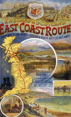 'East Coast Route'  GNR/NER/NBR poster  c 1900.