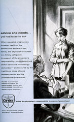 Contraceptive advertisement: 'advice she needs... yet hesitates to ask'  1950s.