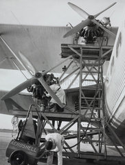 Handley Page HP42 aircraft being refuelled  Croydon Airport  c 1930-1940.
