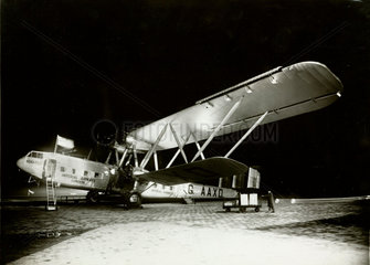 HP42 G-AAXD 'Horatius' at Paris-Le Bourget by night  c 1930s.