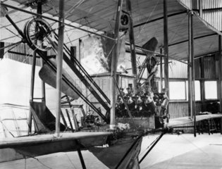 Cody Aeroplane No1  Antoinette engine being fitted September 1908.
