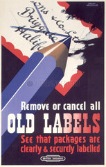 'Remove or Cancel all Old Labels'  BR poster  c 1950s.